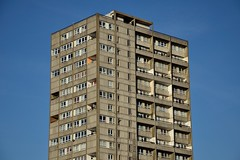 Flats in a Blue Sky (A-Lister Photography) Tags: life city uk blue homes light england sky sun sunlight london home horizontal skyline architecture sunrise landscape warm apartments cityscape skyscrapers bright citylife lifestyle sunny bluesky landmark flats domestic block positive innercity sunlit residential domesticlife modernarchitecture brutalist brutal reallife cityoflondon homelife realpeople blockofflats adamlister nikond5100 alisterphotography