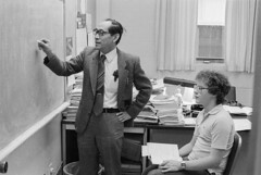 Professor instructing physics student from the Honors Tutorial College at Ohio Univeristy, 1983 (Ohio University Libraries) Tags: usa student athens math physics oh mathematics 1983 professor 1980s tanaka ohiouniversity honorstutorialcollege tomoyasutanaka