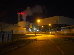 Letting off steam again (roadscum) Tags: light england yellow night dark steam sodium middlesex powerstation enfield eon brancroftway