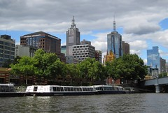 Melbourne CBD from the Yarra River (Adriano_of_Adelaide) Tags: bridge summer ferry skyline clouds river afternoon skyscrapers australia melbourne victoria clocktower yarra flindersstreetstation cbd ripples planetrees ferries flindersstreet centralbusinessdistrict rivercruise yarrariver victoriauniversity flindersstreetrailwaystation