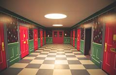 Alice in Wonderland Doors (Melissa O'Donohue) Tags: pink winter cold green burlington aquarium colorful vermont doors hallway installation learning february trippy vt aliceinwonderland sciencecenter checkeredfloor burlingtonvt echolakeaquarium echolakeaquariumandsciencecenter
