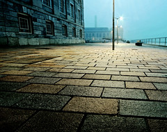 Beyond the yellow brick road [ Explore ] (NikNak Allen) Tags: old longexposure morning light england mist building fog stone architecture yard pavement low bricks wide plymouth devon royalwilliamyard0414