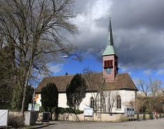 église du château de Laufen (bulbocode909) Tags: flurlingen cantondezurich églises égliseduchâteaudelaufen chutesdurhin arbres hiver murs panneaux horloges nuages ciel bleu rouge vert