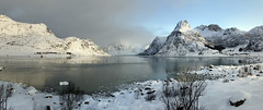 a cold kiss from the Queen of Ice (lunaryuna) Tags: norway lofoten lofotenislands lofotenarchipelago landscape seascape fjord mountainrange panorama panoramicviews winter season seasonalwonders snow ice reflections water seeingdouble weathermoods sky light beauty nature lunaryuna