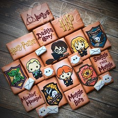 Harry Potter Set (cREEative_Cookies) Tags: baby shower babyshower cookies harry potter elephant chic birds mason jar lace delicate flower sports its boy girl blessed baptism crib teddy bear kokeshi dolls sunshine clouds happy flowers girly boyish sugar edible art theme custom royal icing baked adorable roses daisies fondant booties shoes onesies bibs personalized sugarveil