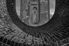 Arch (re-posted) (scarlet-pimp) Tags: balcombeviaduct ousevalley monochrome blackandwhite symmetrical brick mono viaduct silverefexpro2 londonbrighton bricks outdoors nd ndfilter