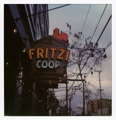 Fritzi Coop (tobysx70) Tags: the impossible project tip polaroid sx70sonar sonar instant color film for sx70 type cameras impossaroid fritzi coop traction avenue arts district dtla downtown los angeles california ca neon sign illuminated lit fried chicken restaurant bar brewing company dark ominous clouds red cock la art book fair polawalk 022617 toby hancock photography