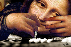 """Breaktime"" (aberrantart) Tags: monalisa davinci cocaine coke drugs art collage parody lagioconda renaissance painting"