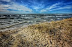 Grass, Waves, Clouds (mswan777) Tags: beach grass dunes water waves sky cloud outdoor nature lake michigan stevensville nikon d5100 sigma 1020mm scenic landscape seascape evening footprint