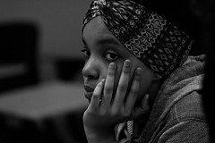 Chin up, Young Sis (Brother Christopher) Tags: class youth lessons teach saturday bx thebronx lehmancollege trio trioworks special portrait blackandwhite kids academy culture fun explore explored brotherchris nyc students indoor indoors