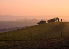 pink mist (sussexscorpio) Tags: regression animal slope cuckmere mist countryside nature people dog hill fence sky pink color colour layers light dusk sunset atmosphere atmospheric sussex seaford eastsussex southdownsnationalpark southdowns canon canon60d silhouette silhouettes outdoor landscape green downs uk england south shadows field scenery