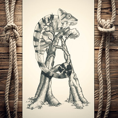 Ahameleon (reXraXon) Tags: raxon art artwork pencilart drawing handdrawing sketch pencilsketch typography lettering handlettering letteringart chameleon tree