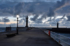Whitby, North Yorkshire. (Andy bradders) Tags: godscounty yorkshirecoast yorkshire coast whitby sea whiterose morning sunrise night earlymorning daybreak light moonlight clouds lighthouse streetlight uk colour harbour dracula town eastcoast seaside walkway holidays dayout coldmornings cold greenlight england upnorth nikon d7100 coastal waves streetlighting led whitelight silence northyorkshire