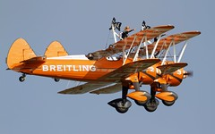 Boeing - Stearman Model 75 Formation - Breitling Wingwalkers (stecker.rene) Tags: breitling wingwalkers aerobatic boeing stearman model75 pt17 doppeldecker kaydet airshow aerialdisplay flyingdisplay lsmp payerne payerne2014 payerne14 switzerland air14 airbase afb formation canon eos7d tamron 150600mm flying flypast trainer n74180
