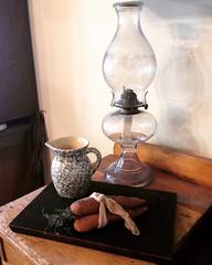 (~jeannie~) Tags: antiques primitive cuttingboard oillamp kitchen stilllife