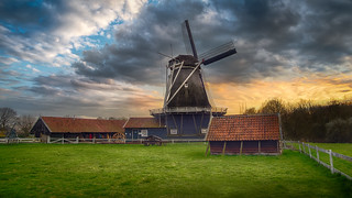 Dramatic Sky over Dutch Windmill