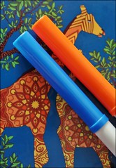 Macro Monday: Blue & Orange (Sue90ca Spring Chores Keeping Me Too Busy) Tags: canon 6d macromonday blueorange colouring page markers