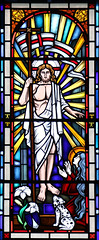 Easter Saturday (Lawrence OP) Tags: biblical resurrection risen lord jesuschrist empty tomb stainedglass holyrosary portland oregon dominican dog dominicanes lily shield heraldry window flag greenman victor rex