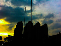 Four buildings. (silmihidayat) Tags: sunsettime sunset buildings color could country indonesia iphone iphone4 amateurs photograhpy