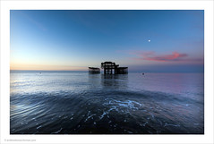 Pink Moon / West Pier Brighton (Andrew James Howe) Tags: andrewhowe beech clouds colour dawn england fineart light landscape nikon brighton brightonwestpier pier reflections reflection nickdrake