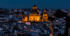 Sevilla at night from Metropol Parasol (Henk Verheyen) Tags: andalusië es sevilla spanje avond vanafmetropolparasol andalucía stad stadsgezicht city cityscape