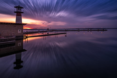Safe Harbor (gauss5050) Tags: madison wisconsin lake mendota longexposure sunset mood moody lighthouse docks calm reflection mirror unitedstates usa nikon tamron