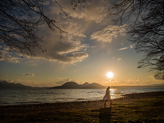sunset (shingo7099) Tags: sky cloud woman lady girl water lake japan japanese hokkaido tree wind spring 645z pentax shore wave landscape portlait