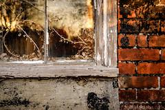 Worn (Nora Kaszuba) Tags: worn stoningtonconnecticut stoningtonvillage stoningtonborough window brick fujixt2 fuji35mmf2 norakaszuba
