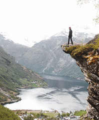 Andy on the edge mk 2 (R.Hawkins) Tags: norway scandinavia norsk norge mittnorge ledge rock lake sea boat geiranger fjord mountain cruise ship roadtrip overhang hanging british
