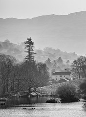 Rydal Water, Lake District (Pexpix) Tags: bw blackandwhite cottage day2 fog lph lake lakedistrict mist monochrome mountain outdoor trees water weather dof hills rydal england unitedkingdom 攝影發燒友