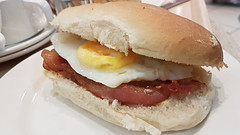 Bacon & Fried Egg Roll. (ManOfYorkshire) Tags: bacon egg fried friedegg bap roll buttie butty sandwich breakfast cafezest houseoffraser nottingham restaurant meal food snack brunch
