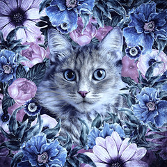 Cat In Flowers. Winter (♥Oxygen♥) Tags: animal cute art cartoon cat character decorative design face funny head illustration kitten kitty nature ornament pet round beautiful bloom blossom childish circle decor decoration drawn floral flower frame garden greeting hand postcard pussycat retro romantic smile sweet wreath feline season botanical painting digital fluffy portrait impression winter blue violet oksanaariskina fineartcat printcat domesticcat catart childrensart digitalpainting digitalillustration catdrawing catportrait children homeinterior decorativeart