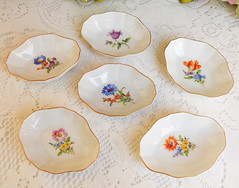 Meissen Porcelain Butter Pats ~ Salts ~ Dresden Flower Pattern Gold (Donna's Collectables) Tags: meissen porcelain butter pats ~ salts dresden flower pattern gold