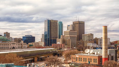 Down Town from The Forks (allansoul) Tags: view hdr 1855mm city theforks cityscape views allansoul photomatix canada winnipeg manitoba fujifilm xt20