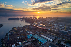 Poseidon's Favour (draken413o) Tags: singapore sembawang shipyard ships sunrise morning industrial tankers vertorama urban places scenes dji phantom 4 pro aerial drone asia travel destinations architecture