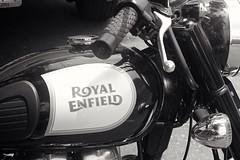 Royal Enfield - Bangkok (jcbkk1956) Tags: manualexposure manualfocus 50mmf14 fd canon xt1 fuji thonglo thailand bangkok bike motorcycle royalenfield blackandwhite mono worldtrekker logo detail emblem