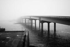 bridge to nowhere (jeff_tidwell) Tags: atlantic city brigde ocean fog blackandwhite bay water bw