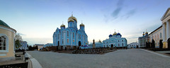 Cathedral after The Night Service. Easter. (D.Boyarrin) Tags: morning blue light sky people panorama church statue temple gold icons christ cathedral russia glory crowd celebration monastery mass domes resurrection oon servise   zadonsk    easter2013 russianortodoxal