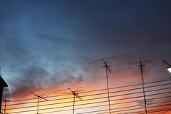 wire antenna (Nuch_>cha) Tags: roof sunset red sky sun color television radio sunrise season dawn rainbow wire colorful dusk over sunny communication shade transportation mast feeling emotional antenna telecommunication