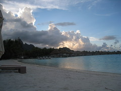 Evening at Bora Bora! (RushabhSheth) Tags: sunset sky beach nature water clouds sunrise evening turquoise whitesand acqua villas borabora frenchpolynesia overwatervilla
