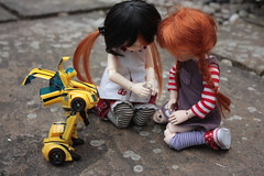 I'll just sneak you and put this transformer here.... (Champignons) Tags: boy naughty transformer spiderman bjd dollies yosd