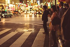 (laffaff) Tags: street light red woman man green girl look station japan 50mm tokyo waiting crossing dof traffic bokeh f14 praying shibuya jr wait tokio salary japaense