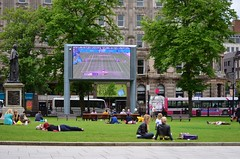 Lunch On City Hall Lawn (Derek Hall) Tags: travel summer people lunch outdoors cityhall lawn belfast northernireland summertime exploration streetscenes peoplewatching ulster outdooractivity goodweather streetactivity