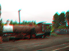 Chama, NM in 3d (CaptDanger) Tags: travel usa newmexico southwest america train canon photography photo 3d picture trains anaglyph tourist steam engines nm chama redblue traincars steamtrains trainhouse americansouthwest 3dimensional southwesternus oldtrains 3dimages locamotives chamanm anaglyph3d workingsteamengines trainstationin3d