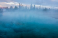 Thermal Blue (ragwho) Tags: blue lake evening nationalpark caldera yellowstone wyoming sulfur westthumb fumes flickrandroidapp:filter=none