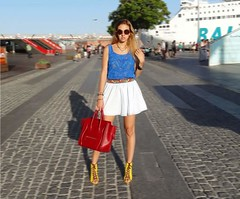 Yellow Mellow (LovebyN) Tags: barcelona blue red sea black detail blanco beach sunglasses fashion yellow boston port vintage outfit spain top style skirt dolce bracelet heels glam denim bracelets yachts suite diva iconic hermes swag beaded miumiu stylish dolceandgabbana gabbana fashionblog fbloggers fashionblogger collierdechien fashinoista fblogger lovebyn hbracelet oatd necklacetreetstyle