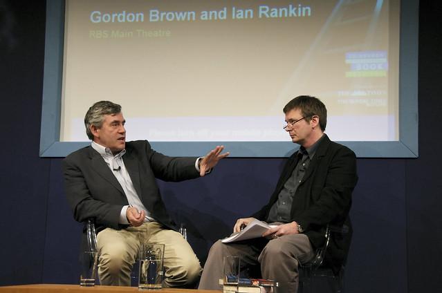 Gordon Brown chats to Ian Rankin