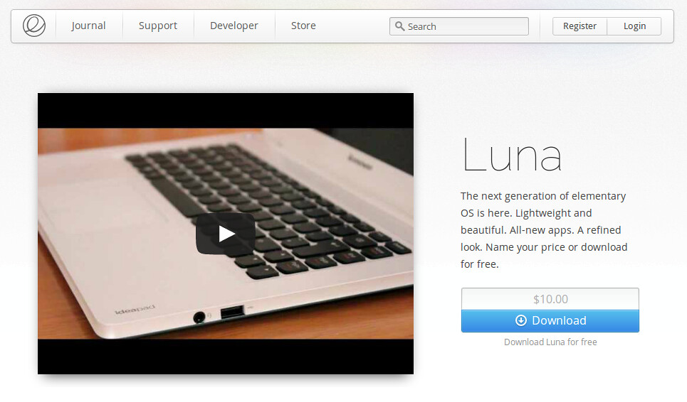 version estable de elementary os luna website