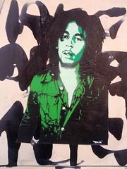 Bob in La Rochelle (raia2mars) Tags: street streetart art collage graffiti stencil tag ska stick graff larochelle reggae rasta sticking bobmarley wailers raia pochoir pasteit pasteitup raia2mars