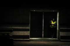 caught off guard (Edo Zollo) Tags: mobile night lowlight doors break telephone guard centrallondon